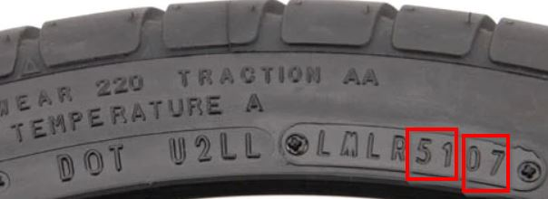 Determine the age of a tire from the DOT code